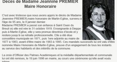 Avis de Décès de Madame Jeannine Premier